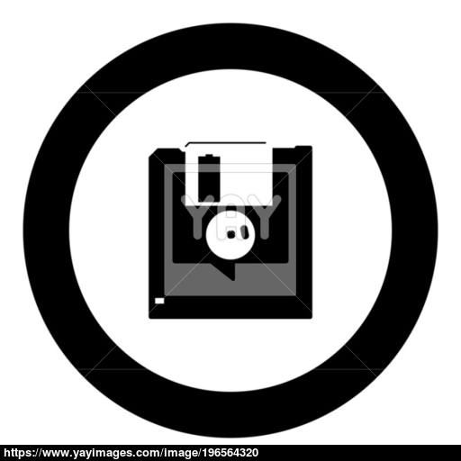 Floppy Disk Icon Black Color In Circle Vector