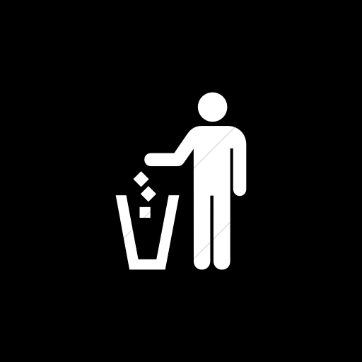 Flat Square White On Black Aiga Litter Disposal Icon