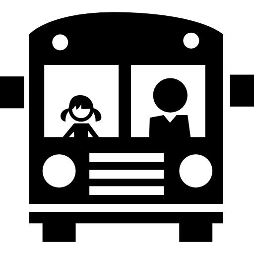 School Bus Front With Passengers