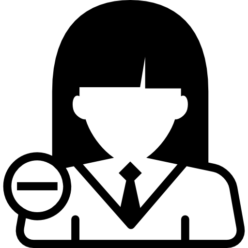 Woman User Close Up With Minus Symbol Icons Free Download