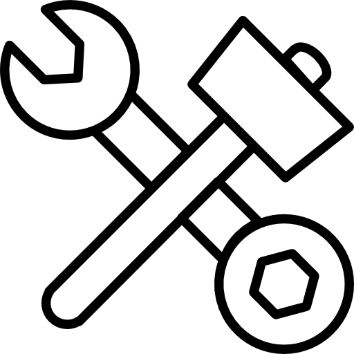 Hammer And Double Side Wrench In Cross Icons Free Download