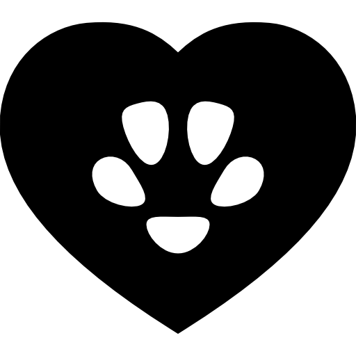 Pet Footprint Inside A Heart Shape Icons Free Download