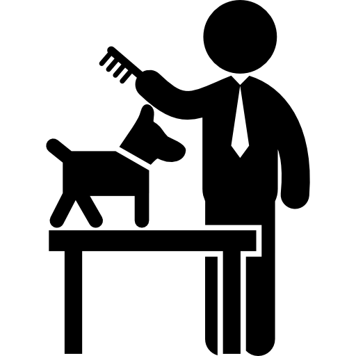 Man Combing A Dog Icons Free Download