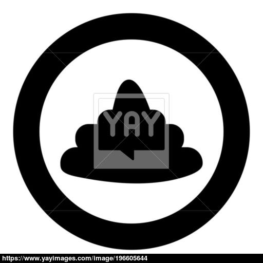Poo Black Icon In Circle Vector Illustration Isolated Vector