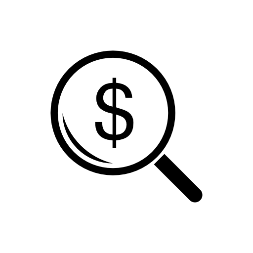 Dollar Signs In Magnifying Glass Icon Free Icons Download