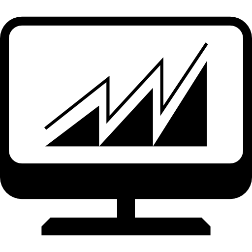 Desktop Computer Screen With Rising Graph