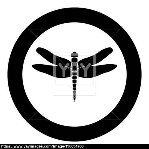 Dragonfly Black Icon In Circle Vector Illustration Vector