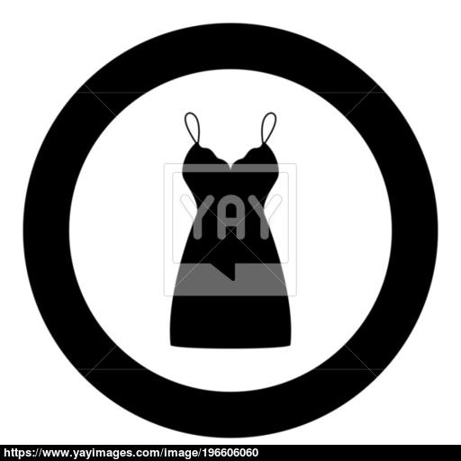 Sundress Combination Or Nightie Black Icon In Circle Vector