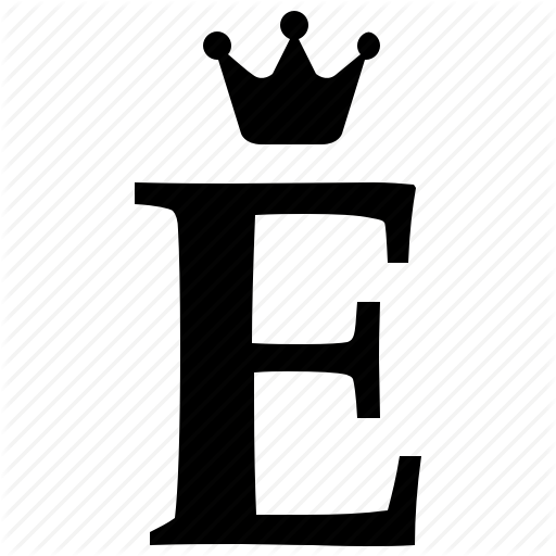 Alphabet, Crown, E, English, Letter, Royal Icon