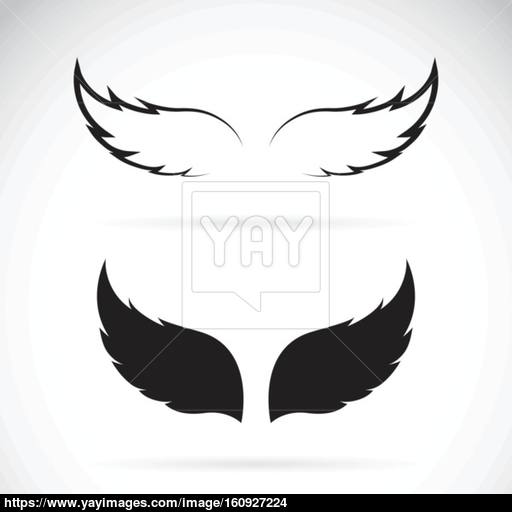 Vector Black Wing Icon On White Background Vector