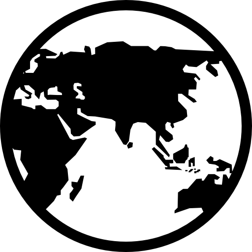 Earth Globe With Continents Silhouettes