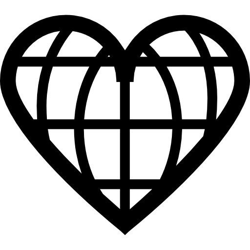 Earth Grid With Heart Shape Icons Free Download