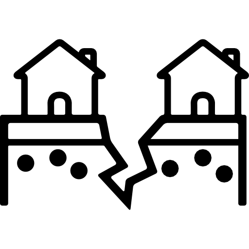 Cracked Ground Between Houses Icons Free Download