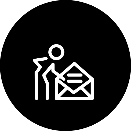 Person With An Opened Email Envelope Inside A Circle