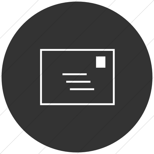 Flat Circle White On Dark Gray Classica Email Icon