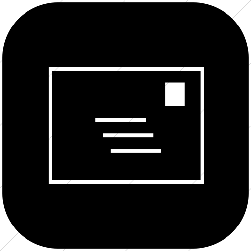 Flat Rounded Square White On Black Classica Email Icon