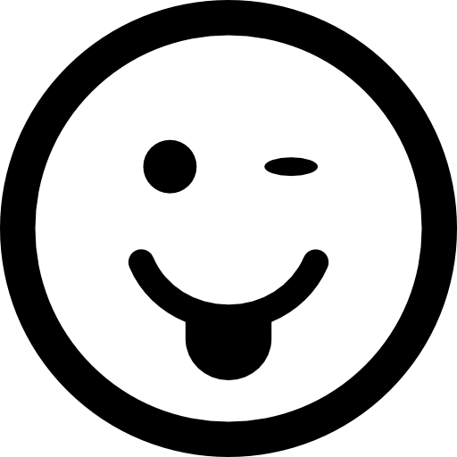 Winking Emoticon With Tongue Out Of Mouth And Square Face Shape