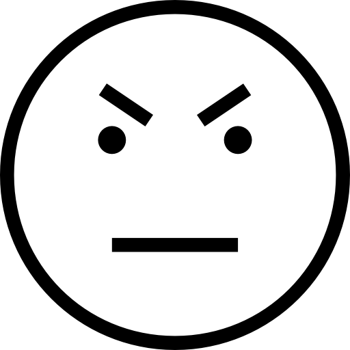 Angry Face Emoticon Outline
