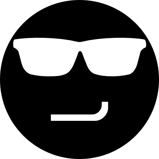 Smirking Face Black Emoticon With Eyeglasses