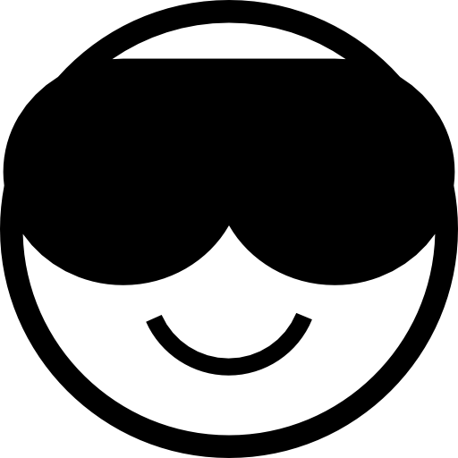 Emoticon Cool Face Smiling With Dark Sunglasses Icons Free Download