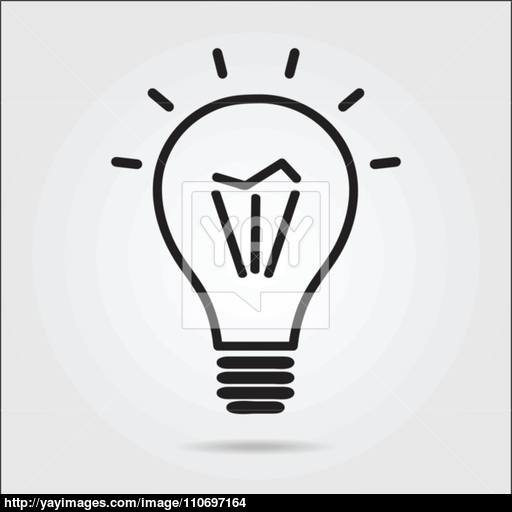 Light Bulb Logo Icon Drawn In The Manual Vector
