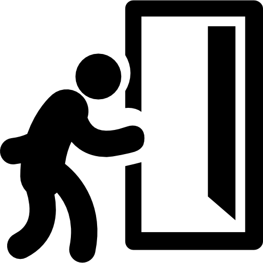 Man And Opened Exit Door Free Vector Icons Designed
