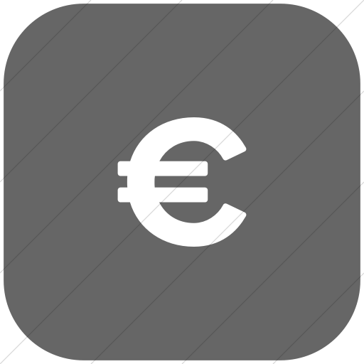 Flat Rounded Square White On Gray Foundation Euro Icon