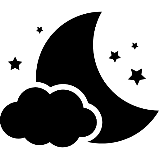 Night Symbol Of The Moon With A Cloud And Stars Icons Free Download