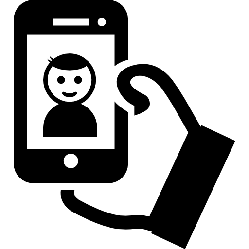 Selfie Of A Boy On Phone Screen In His Hand Icons Free Download