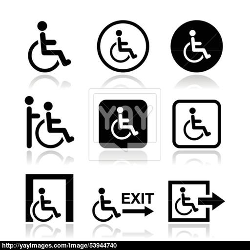Man On Wheelchair, Disabled, Emergency Exit Icon Vector
