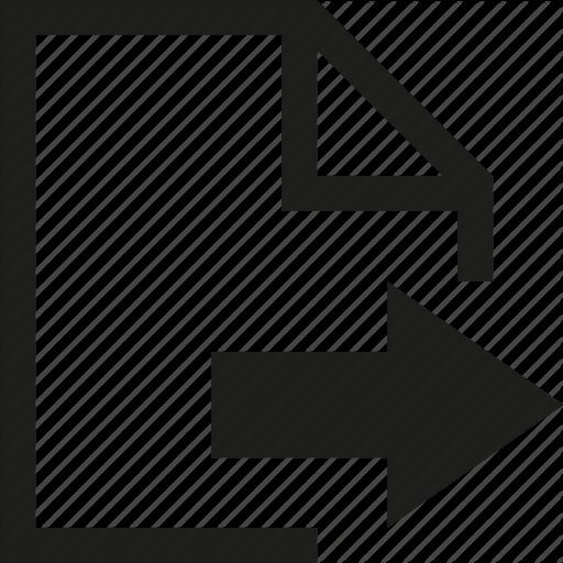 Arrow, Document, Export, File, Move Icon