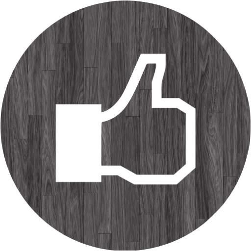Black Wood Facebook Like Icon