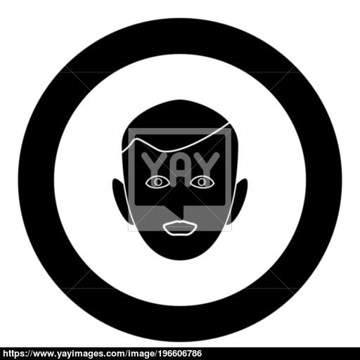 Little Boy Face Black Icon In Circle Vector Illustration Isolated