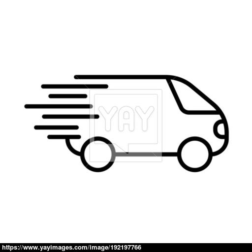Fast Shipping Icon, Delivery Truck Simbol Flat Vector