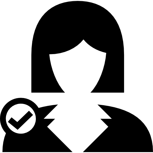 Female User Verified Symbol Icons Free Download