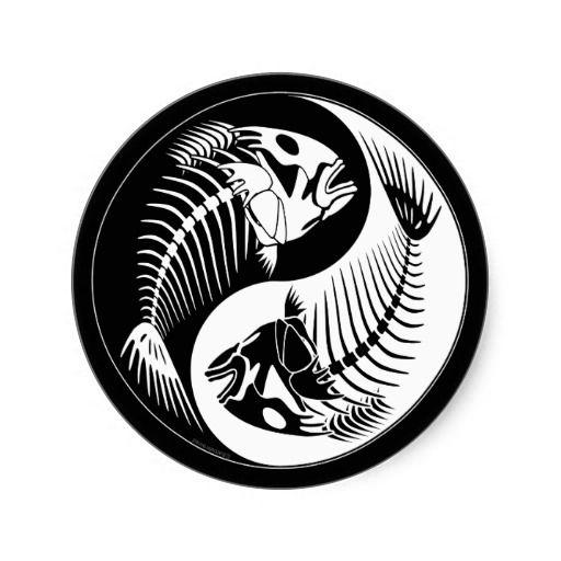 Fish Bone Yang Classic Round Sticker Tattoos