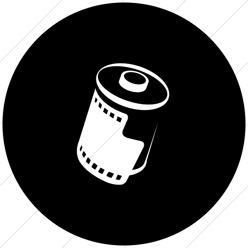 Flat Circle White On Black Classica Roll Of Film Icon