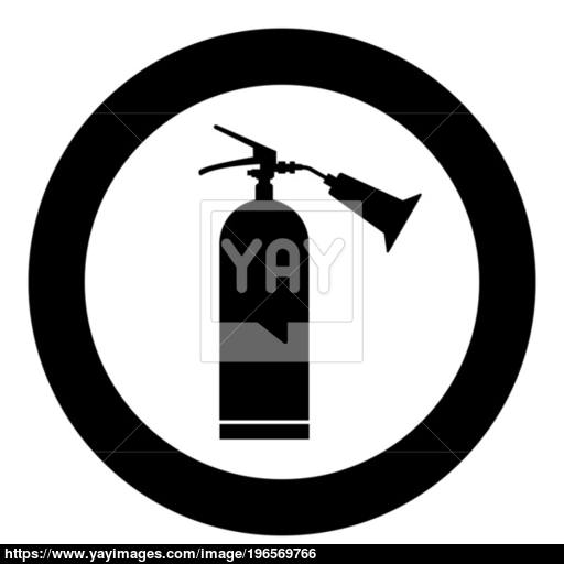 Fire Extinguisher Icon Black Color In Circle Vector