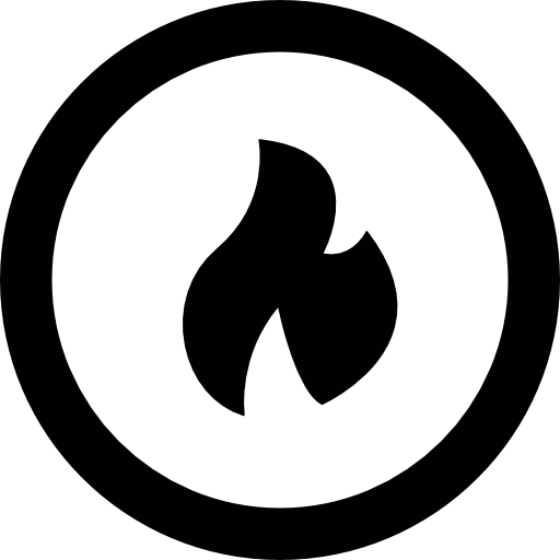 Fire Flame Inside A Circular Outline Icons Free Download