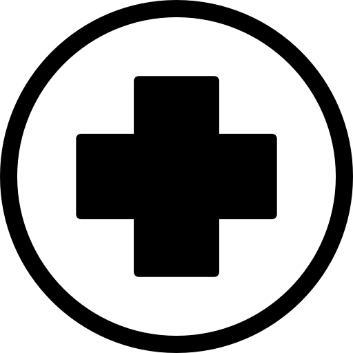 First Aid Cross In Black Inside A Circle Icons Free Download