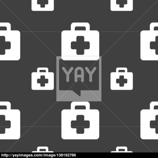 First Aid Kit Icon Sign Seamless Pattern On A Gray Background