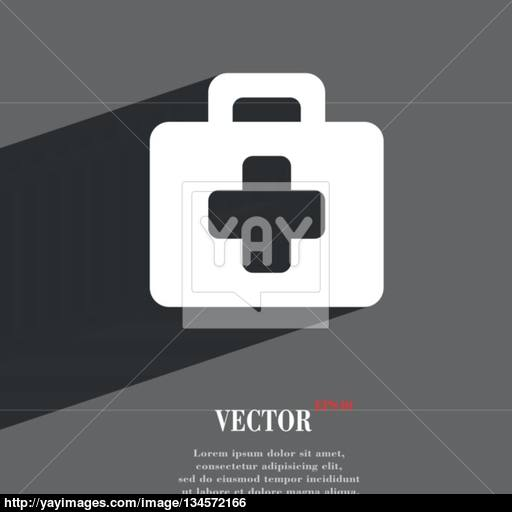 First Aid Kit Icon Symbol Flat Modern Web Design With Long Shadow