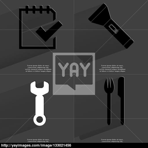 Task Completed Icon, Flashlight, Wrench, Fork And Knife Symbols