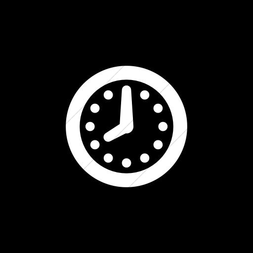 Flat Square White On Black Raphael Clock Icon