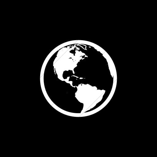 Flat Circle White On Black Classica Earth Americas Icon