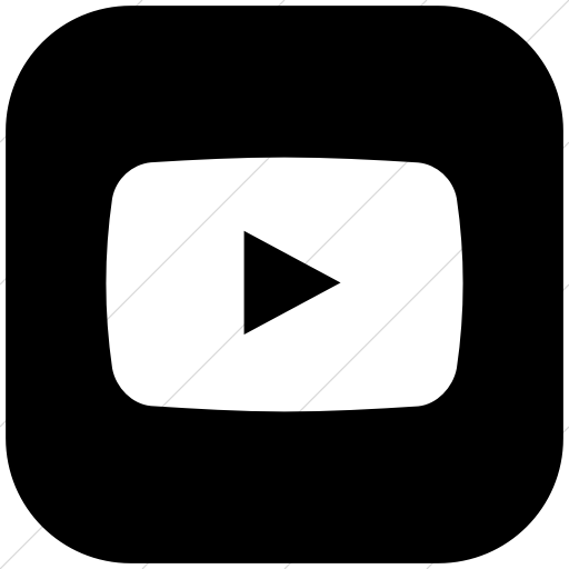 Flat Rounded Square White On Black Social Media Youtube