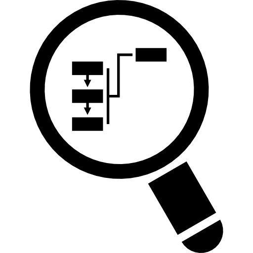 Magnifying Glass Focusing On Flowchart Icons Free Download