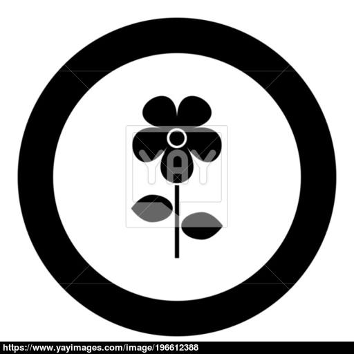 Flower Icon Black Color In Circle Vector