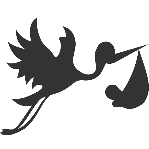 Bundle, Flying, Stork, With Icon