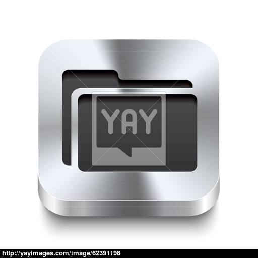 Square Metal Button Perspektive